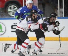 IIHF World Championship 2017 SLO - CAN Mitch Marner #16, Jan Urbas #26, Josh Morrissey #7 Paris, Bercy ©Puckfans.at/Andreas Robanser