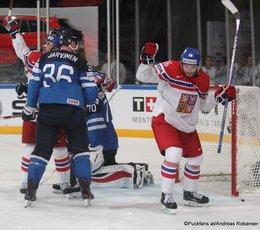 IIHF World Championship 2017 FIN - CZE Joonas Järvinen #36, Joonas Korpisalo #70, Michal Birner #16 Paris, Bercy ©Puckfans.at/Andreas Robanser
