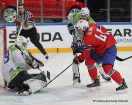 IIHF World Championship 2017 SLO - NOR Matija Pintaric #69, Rok Ticar #24, Ken Andre Olimb #40 Paris, Bercy ©Puckfans.at/Andreas Robanser