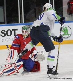IIHF World Championship 2017 SLO - NOR Lars Haugen #30, Miha Verlic #91 Paris, Bercy ©Puckfans.at/Andreas Robanser