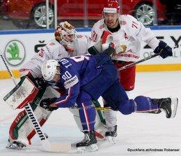 IIHF World Championship 2017 FRA - BLR Kevin Lalande #35, Teddy Da Costa #80, Alexander Pavlovich #71 Paris, Bercy ©Puckfans.at/Andreas Robanser