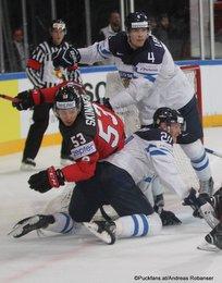 IIHF World Championship 2017 CAN - FIN Jeff Skinner #53, Jani Lajunen #24, Mikko Lehtonen #4 Paris, Bercy ©Puckfans.at/Andreas Robanser