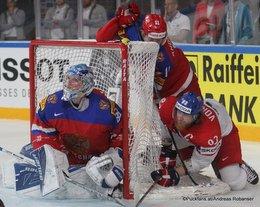 IIHF World Championship 2017 Quarterfinal RUS - CZE Andrei Vasilevsky #88, Jakub Voracek #93, Sergei Andronov #11 Paris, Bercy ©Puckfans.at/Andreas Robanser