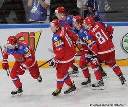 IIHF World Championship 2017 Quarterfinal RUS - CZE Nikita Kucherov #86, Sergei Plotnikov #16, Viktor Antipin #9, Dmitri Orlov #81 Paris, Bercy ©Puckfans.at/Andreas Robanser