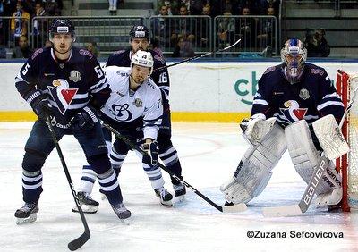 HC Slovan Bratislava - Dynamo Moskau Patrik Bacik #5, Daniil Tarasov #79, Andrej Meszaros #16, Marek Mazanec #2 Copyright: Zuzana Sefcovicova
