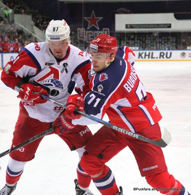 CSKA Moskau - Lokomotive Jaroslavl Anton Burdasov #71, Rushan Rafikov #87 Eispalast des Sports CSKA ©Puckfans.at/Andreas Robanser