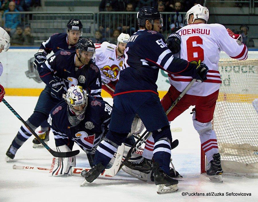 HC Slovan Bratislava - Jokerit Helsinki Tomas Voracek #4, Jakub Stepanek #30, Ivan Svarny #51, Jounsuu #6 ©Puckfans.at/Zuzka Sefcovicova