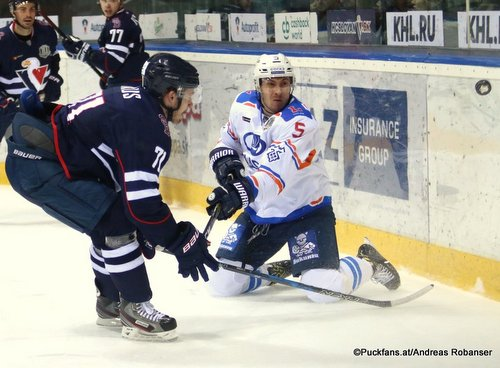 HC Slovan Bratislava - Lada Togliatti  Juraj Mikus #71, Dmitri Kostromitin #5 Ondrej Nepela Arena ©Puckfans.at/Andreas Robanser