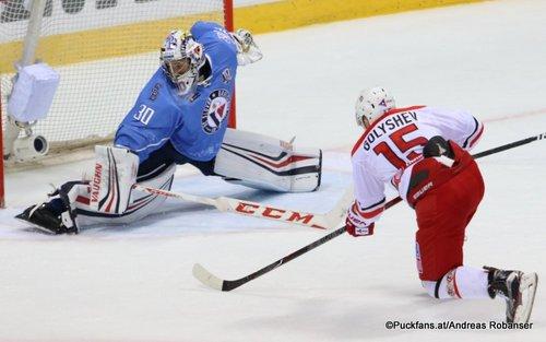 HC Slovan Bratislava - Avtomobilist Yekaterinburg Jakub Stepanek #30, Anatoli Golyshev #15 Ondrej Nepela Arena ©Puckfans.at/Andreas Robanser