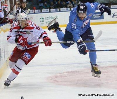 HC Slovan Bratislava - Avtomobilist Yekaterinburg Andrei Obidin #58, Patrik Lamper #63 Ondrej Nepela Arena ©Puckfans.at/Andreas Robanser