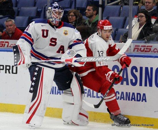 IIHF World Juniors 2018 DEN - USA Joseph Woll #31, Christian Wejse #13 Key Bank Center ©hockeyfans.ch/Andreas Robanser