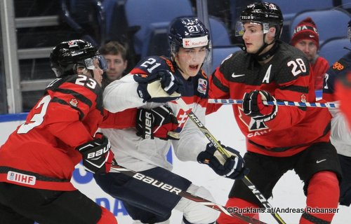 IIHF World Juniors 2018 SVK - CAN Sam Steel #23, Adam Ruzicka #21, Victor Mete #28 Key Bank Center ©Puckfans.at/Andreas Robanser