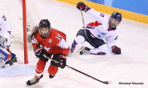 Olympic Winter Games Pyeongchang 2018 Women: SUI - COR Evelina Raselli #14, Randi Griffin #37 Kwandong Hockey Centre ©Andreas Robanser