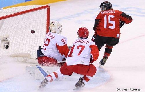 Olympic Winter Games Pyeongchang 2018 Women: CAN - RUS Nadezha Morozova #92, Fanuza Kadirova #17, Mélodie Daoust #15 Kwandong Hockey Centre ©Andreas Robanser