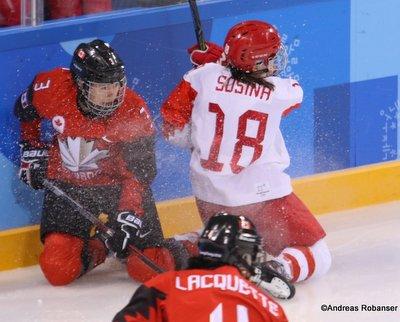 Olympic Winter Games Pyeongchang 2018 Women: CAN - RUS Jocelyne Larocque #3, Olga Sosina #18 Kwandong Hockey Centre ©Andreas Robanser