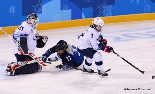 Olympic Winter Games Pyeongchang 2018 Women: FIN - USA Maddie Rooney  #35, Cayla Barnes #3, Annina Rajahuhta  #11 Kwandong Hockey Centre ©Andreas Robanser
