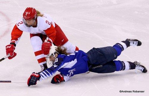 Olympic Winter Games Pyeongchang 2018 Women: USA - RUS Angelina Goncharenko #2, Meghan Duggan #10 Kwandong Hockey Centre ©Andreas Robanser
