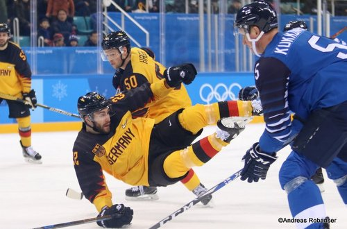 Olympic Winter Games Pyeongchang 2018 FIN - GER Patrick Hager #50, Matthias Plachta #22, Lasse Kukkonen #5 Gangneung Hockey Centre ©Andreas Robanser