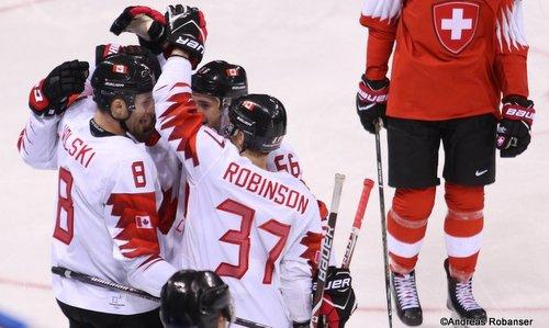 Olympic Winter Games Pyeongchang 2018 Men: SUI - CAN Wojtek Wolski #8, Mat Robinson #37 Kwandong Hockey Centre ©Andreas Robanser
