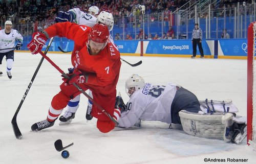 Olympic Winter Games Pyeongchang 2018 Men: RUS - SLO Ivan Telegin #7, Luka Gracnar #40 Gangneung Hockey Centre ©Andreas Robanser