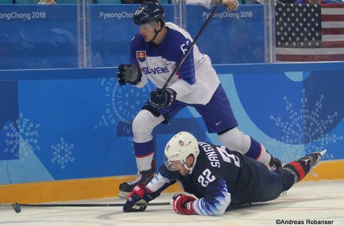 Olympic Winter Games Pyeongchang 2018 Men: USA - SVK Matej Paulovic #67, Bobby Sanguinetti #22 Gangneung Hockey Centre ©Andreas Robanser