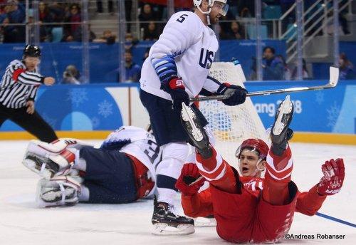 Olympic Winter Games Pyeongchang 2018 Men's: OA RUS - USA Nikolai Prokhorkin  #74, Ryan Zapolski  #30, Noah Welch #5 Gangneung Hockey Centre ©Andreas Robanser
