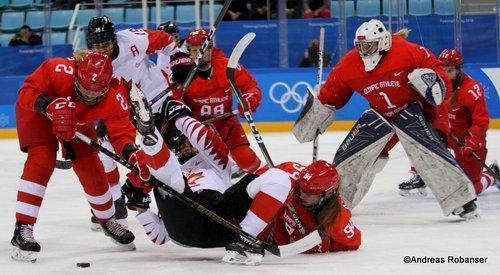 Olympic Winter Games Pyeongchang 2018 Women's Semifinals CAN - OA RUS Angelina Goncharenko #2, Sarah Nurse #20, Yevgenia Dyupina #94, Valeria Tarakanova  #1 Gangneung Hockey Centre ©Andreas Robanser