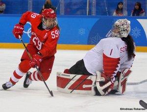Olympic Winter Games Pyeongchang 2018 Women's Semifinals CAN - OA RUS Yelena Dergachyova #59, Shannon Szabados #1 Gangneung Hockey Centre ©Andreas Robanser