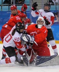 Olympic Winter Games Pyeongchang 2018 Women's Semifinals CAN - OA RUS Blayre Turnbull #40. Valeria Tarakanova  #1, Yekaterina Lobova  #12 Gangneung Hockey Centre ©Andreas Robanser
