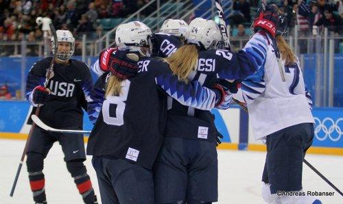Olympic Winter Games Pyeongchang 2018 Women's Semifinals USA - FIN Emily Pfalzer  #8, Dani Cameranesi #24, Kacey Bellamy #22 Gangneung Hockey Centre ©Andreas Robanser