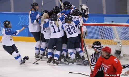 Olympic Winter Games Pyeongchang 2018 Women's Bronze Medal Game FIN - RUS Finnischer Jubel, Anna Shokhina #97 Kwandong Hockey Centre ©Andreas Robanser