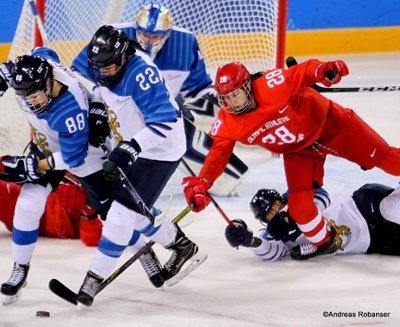 Olympic Winter Games Pyeongchang 2018 Women's Bronze Medal Game FIN - RUS Ronja Savolainen #88, Emma Nuutinen #22, Diana Kanayeva  #28 Kwandong Hockey Centre ©Andreas Robanser