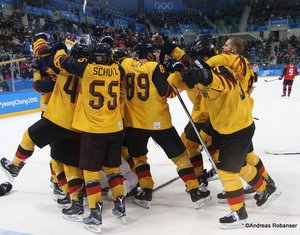Olympic Winter Games Pyeongchang 2018 Men's Play-offs Semifinals CAN - GER Jubel DEB Team Gangneung Hockey Centre ©Andreas Robanser