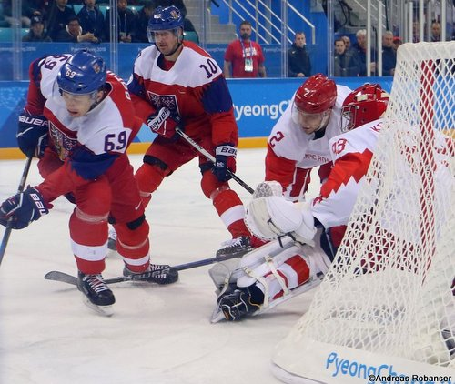 Olympic Winter Games Pyeongchang 2018 Men's Play-offs Semifinals CZE - OA RUS Lukas Radil #69, Roman Cervenka #10, Artyom Zub #2, Vasili Koshechkin #83 Gangneung Hockey Centre ©Andreas Robanser