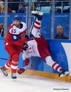 Olympic Winter Games Pyeongchang 2018 Men's Play-offs Semifinals CZE - OA RUS Vojtech Mozik #65, Ilya Kovalchuk  #17 Gangneung Hockey Centre ©Andreas Robanser