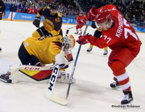 Olympic Winter Games Pyeongchang 2018 Men's Gold Medal Game OA RUS - GER Danny aus den Birken #33, Kirill Kaprizov #77 Gangneung Hockey Centre ©Andreas Robanser
