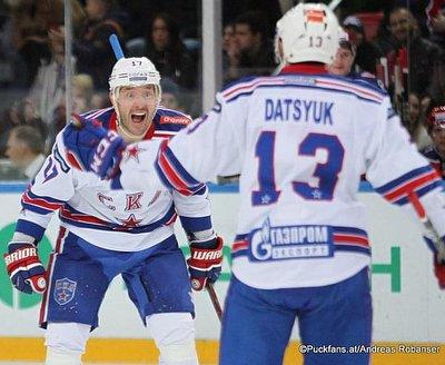 Ilya Kovalchuk #17, Pavel Datsyuk #13 SKA St. Petersburg ©Puckfans.at/Andreas Robanser