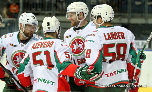 Ak Bars Kazan Torjubel. KHL Season 2017-2018 Justin Azevedo  #51, Jiri Sekac #92, Anton Lander #58 ©Puckfans.at/Andreas Robanser