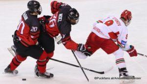 IIHF U18 World Championship CAN - BLR Jack McBain #20, Serron Noel #26, Daniil Stepanov #9 Arena Magnitogorsk ©Puckfans.at/Andreas Robanser
