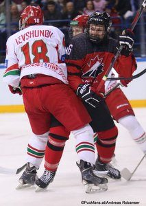 IIHF U18 World Championship CAN - BLR Allan McShane #16, Kirill Levshunov #18 Arena Magnitogorsk ©Puckfans.at/Andreas Robanser