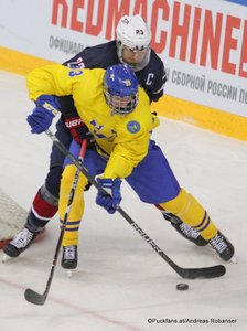 IIHF U18 World Championship USA - SWE  Mattias Samuelsson  #23, David Gustafsson  #13 Arena Metallurg, Magnitogorsk  ©Puckfans.at/Andreas Robanser