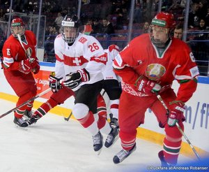 IIHF U18 World Championship BLR - SUI  Ilya Kazyanin #15, Simon Wüest #26, Alexei Protas #6 Arena Metallurg, Magnitogorsk  ©Puckfans.at/Andreas Robanser