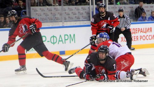 IIHF U18 World Championship Quarterfinal CAN - CZE Ryan Merkley #7, Arena Metallurg, Magnitogorsk ©Puckfans.at/Andreas Robanser