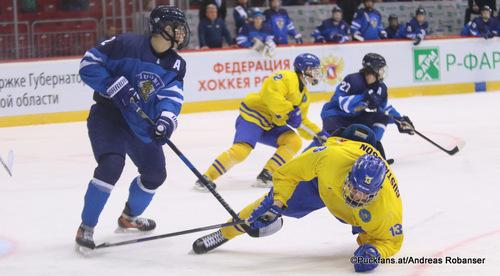 IIHF U18 World Championship  Semifinal FIN - SWE Santeri Salmela #2, David Gustafsson  #13 Arena Traktor, Chelyabinsk ©Puckfans.at/Andreas Robanser
