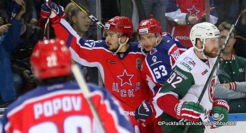 Gagarin Cup Finale Game 3: CSKA Moskau - Ak Bars Kazan Alexander Popov #22, Kirill Petrov #27, Alexei Marchenko #53, Jiri Sekac #92 Eispalast des Sports CSKA ©Puckfans.at/Andreas Robanser