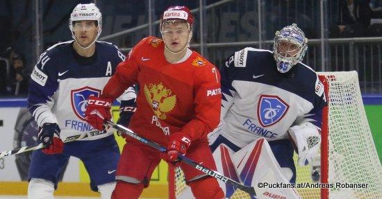 IIHF World Championship  RUS - FRA  Florian Hardy #49, Kirill Kaprizov #7, Kevin Hecquefeuille #84 Royal Arena, Copenhagen ©Puckfans.at/Andreas Robanser