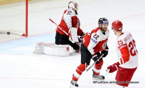 IIHF World Championship AUT - RUS David Madlener #31, Stefan Ulmer #22, Mikhail Grigorenko #25 Royal Arena, Copenhagen ©Puckfans.at/Andreas Robanser