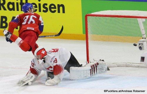 IIHF World Championship  CZE - SUI Michal Repik #26, Leonardo Genoni #63 Royal Arena, Copenhagen ©Puckfans.at/Andreas Robanser