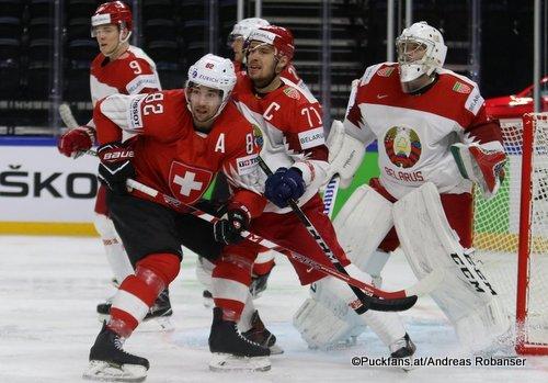 IIHF World Championship SUI - BLR Gaëtan Haas #92, Vladimir Denisov #7, Alexander Pavlovich #71, Mikhail Karnaukhov #1 Royal Arena, Copenhagen ©Puckfans.at/Andreas Robanser