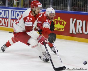 IIHF World Championship SUI - BLR Artyom Kisly #82, Mirco Müller #41 Royal Arena, Copenhagen ©Puckfans.at/Andreas Robanser